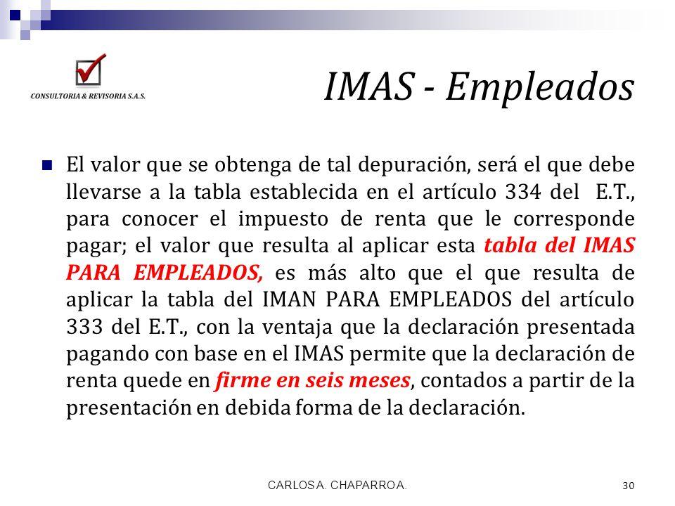 IMAS - Empleados El valor que se obtenga de tal depuración, será el que debe llevarse a la tabla establecida en el artículo 334 del E.T., para conocer