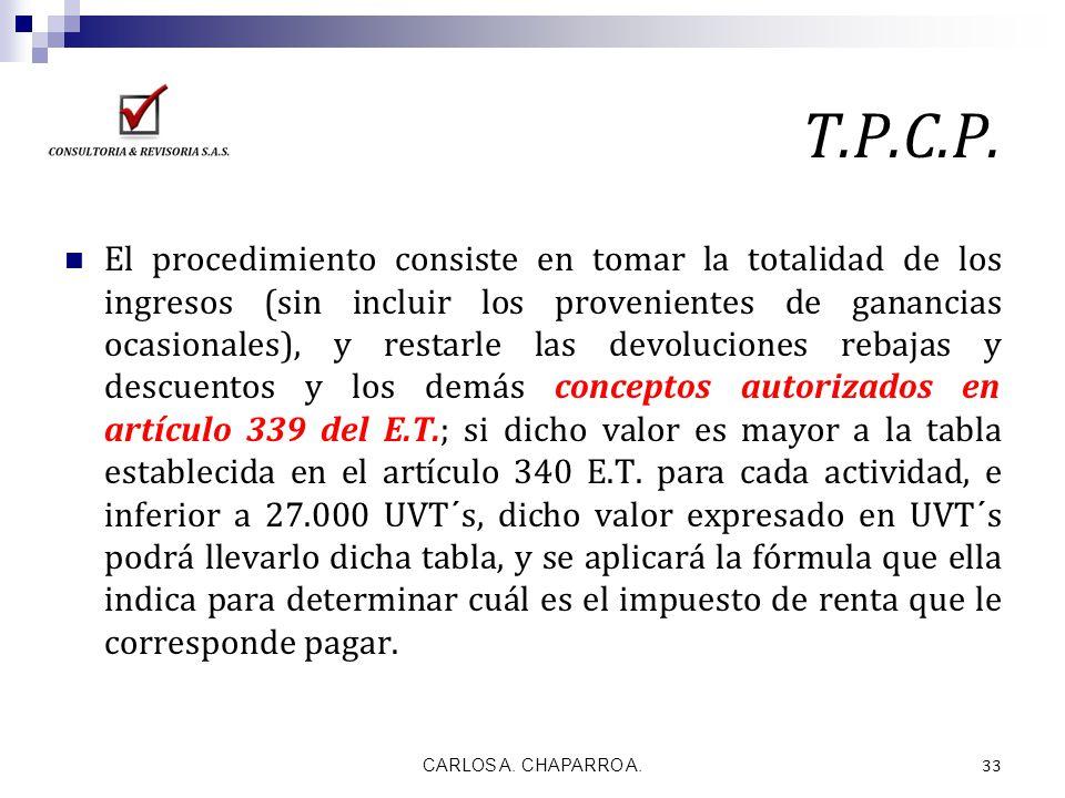 T.P.C.P. El procedimiento consiste en tomar la totalidad de los ingresos (sin incluir los provenientes de ganancias ocasionales), y restarle las devol