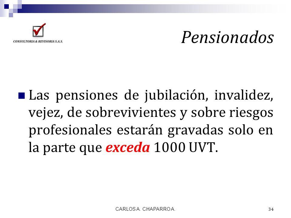 Pensionados Las pensiones de jubilación, invalidez, vejez, de sobrevivientes y sobre riesgos profesionales estarán gravadas solo en la parte que exced