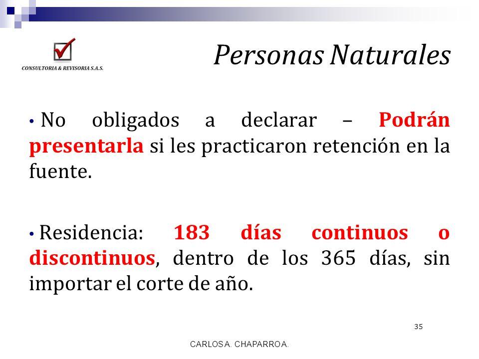 Personas Naturales No obligados a declarar – Podrán presentarla si les practicaron retención en la fuente. Residencia: 183 días continuos o discontinu