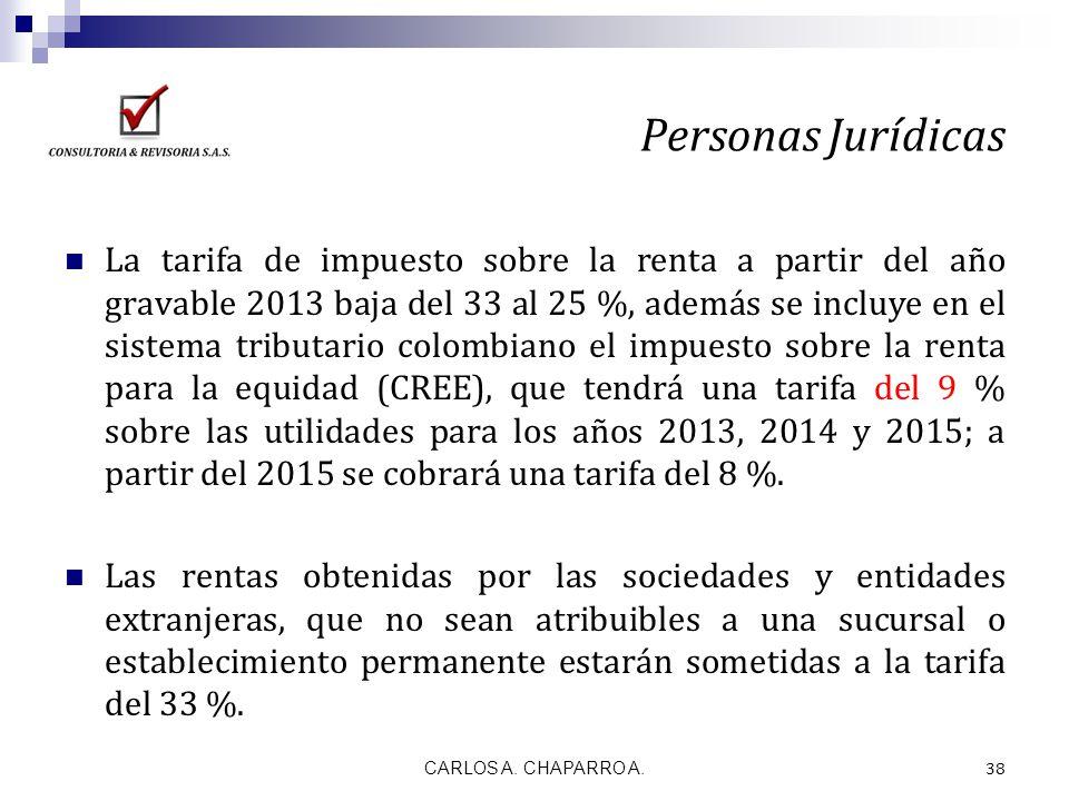 La tarifa de impuesto sobre la renta a partir del año gravable 2013 baja del 33 al 25 %, además se incluye en el sistema tributario colombiano el impu