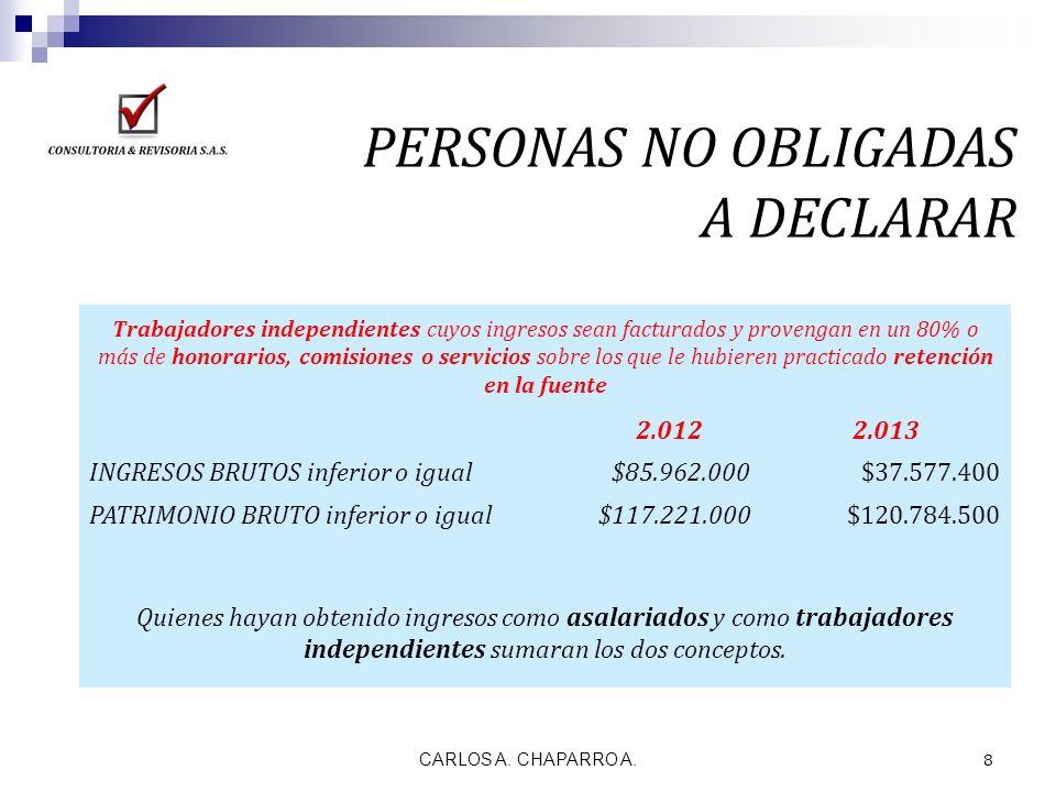 CARLOS A. CHAPARRO A. 8 PERSONAS NO OBLIGADAS A DECLARAR Trabajadores independientes cuyos ingresos sean facturados y provengan en un 80% o más de hon