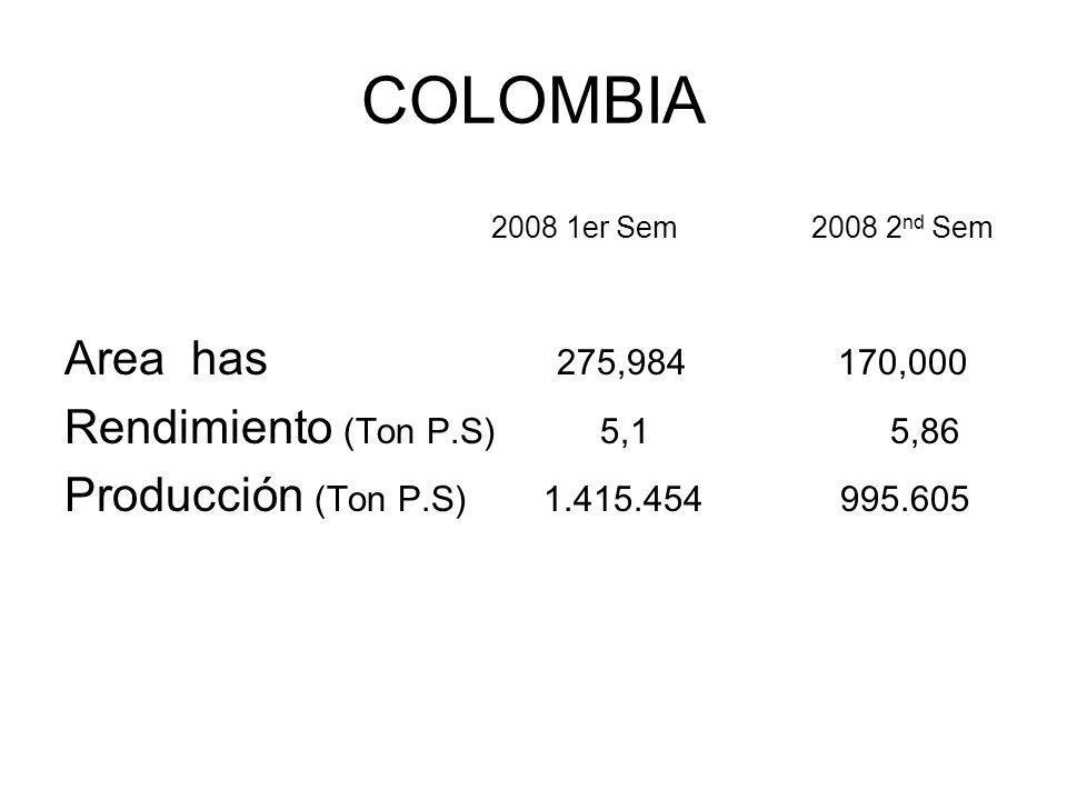 COLOMBIA 2008 1er Sem 2008 2 nd Sem Area has 275,984 170,000 Rendimiento (Ton P.S) 5,1 5,86 Producción (Ton P.S) 1.415.454 995.605