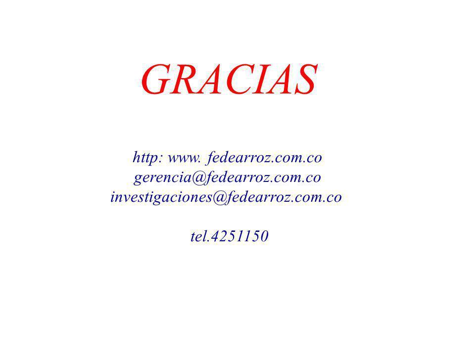 GRACIAS http: www. fedearroz.com.co gerencia@fedearroz.com.co investigaciones@fedearroz.com.co tel.4251150
