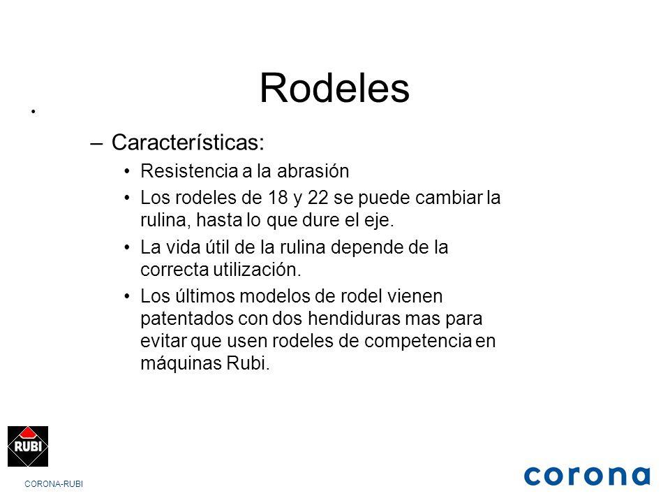 CORONA-RUBI Rodeles –Características: Resistencia a la abrasión Los rodeles de 18 y 22 se puede cambiar la rulina, hasta lo que dure el eje.