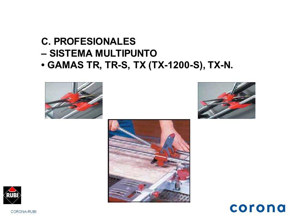 CORONA-RUBI C. PROFESIONALES – SISTEMA MULTIPUNTO GAMAS TR, TR-S, TX (TX-1200-S), TX-N.
