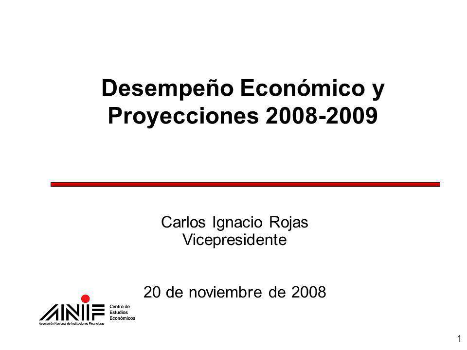 1 Desempeño Económico y Proyecciones 2008-2009 Carlos Ignacio Rojas Vicepresidente 20 de noviembre de 2008