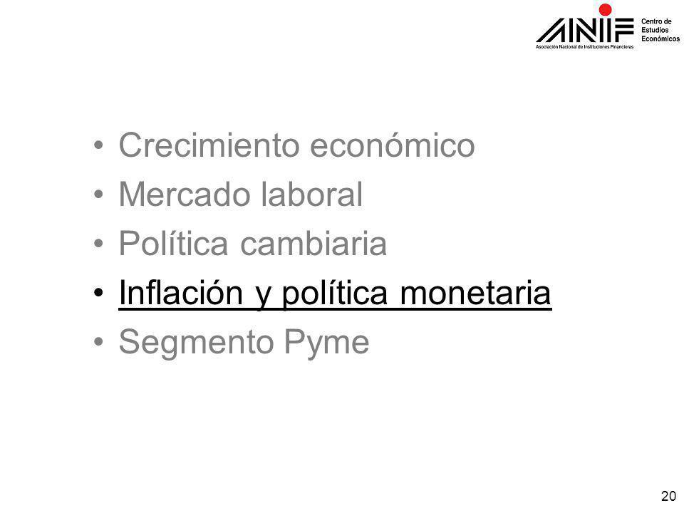 20 Crecimiento económico Mercado laboral Política cambiaria Inflación y política monetaria Segmento Pyme