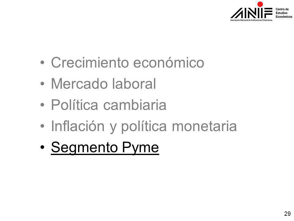 29 Crecimiento económico Mercado laboral Política cambiaria Inflación y política monetaria Segmento Pyme