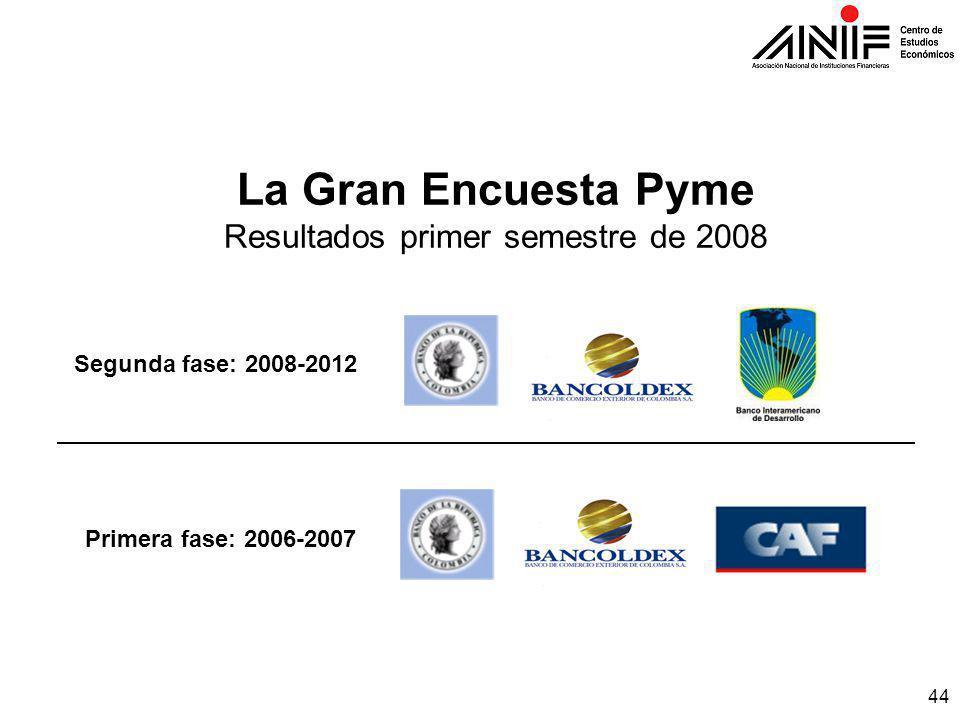 44 La Gran Encuesta Pyme Resultados primer semestre de 2008 Segunda fase: 2008-2012 Primera fase: 2006-2007