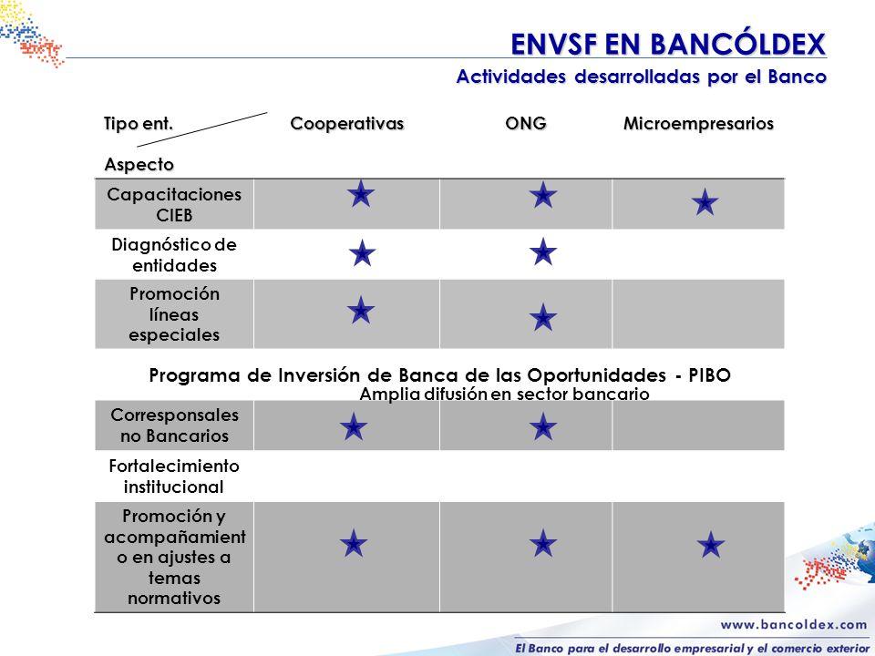 ENVSF EN BANCÓLDEX ENVSF EN BANCÓLDEX Actividades desarrolladas por el Banco Tipo ent.