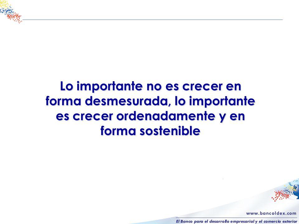 Lo importante no es crecer en forma desmesurada, lo importante es crecer ordenadamente y en forma sostenible