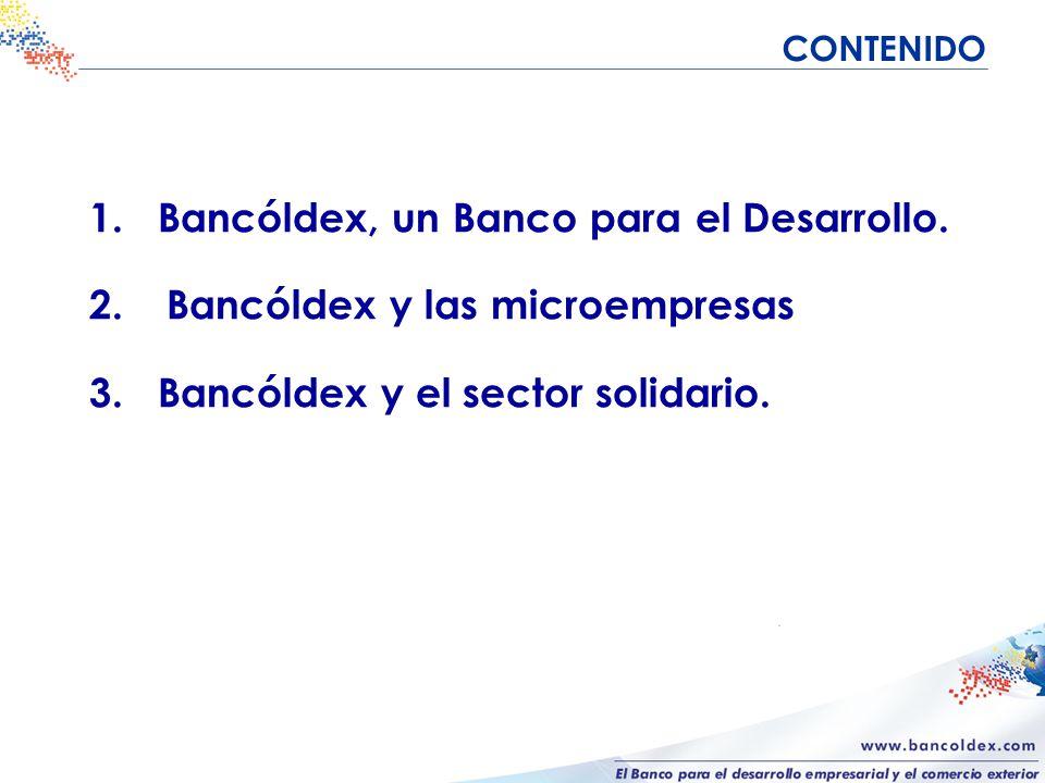 CONTENIDO 1. Bancóldex, un Banco para el Desarrollo.