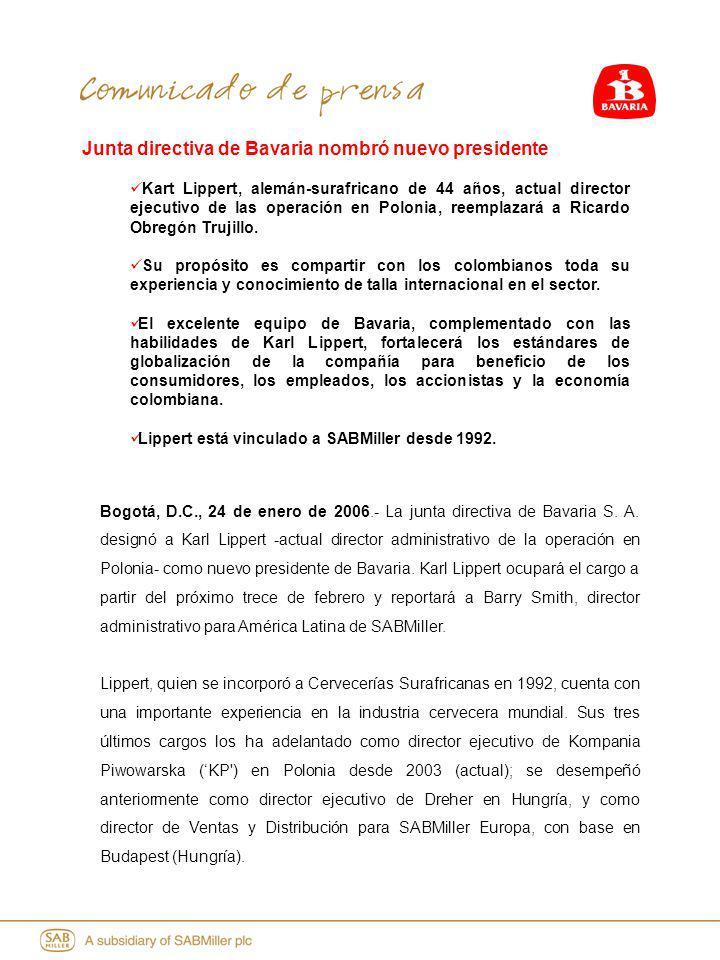 Junta directiva de Bavaria nombró nuevo presidente Kart Lippert, alemán-surafricano de 44 años, actual director ejecutivo de las operación en Polonia, reemplazará a Ricardo Obregón Trujillo.