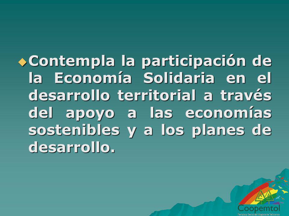 Contempla la participación de la Economía Solidaria en el desarrollo territorial a través del apoyo a las economías sostenibles y a los planes de desa