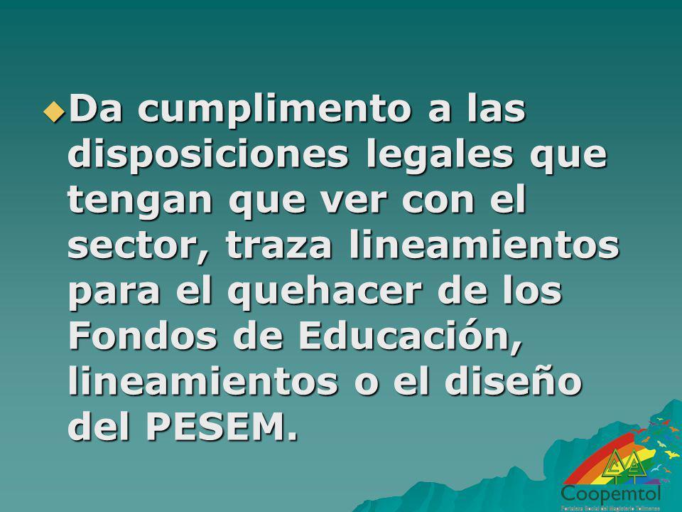 Da cumplimento a las disposiciones legales que tengan que ver con el sector, traza lineamientos para el quehacer de los Fondos de Educación, lineamien