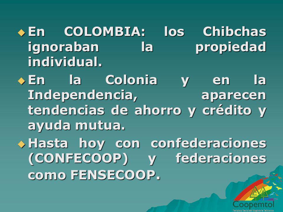 En COLOMBIA: los Chibchas ignoraban la propiedad individual. En COLOMBIA: los Chibchas ignoraban la propiedad individual. En la Colonia y en la Indepe