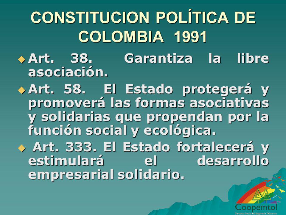 CONSTITUCION POLÍTICA DE COLOMBIA 1991 Art. 38. Garantiza la libre asociación. Art. 38. Garantiza la libre asociación. Art. 58. El Estado protegerá y