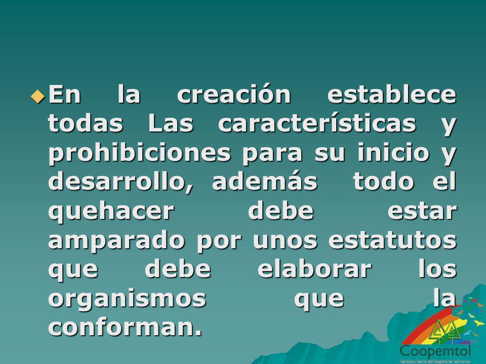 En la creación establece todas Las características y prohibiciones para su inicio y desarrollo, además todo el quehacer debe estar amparado por unos e