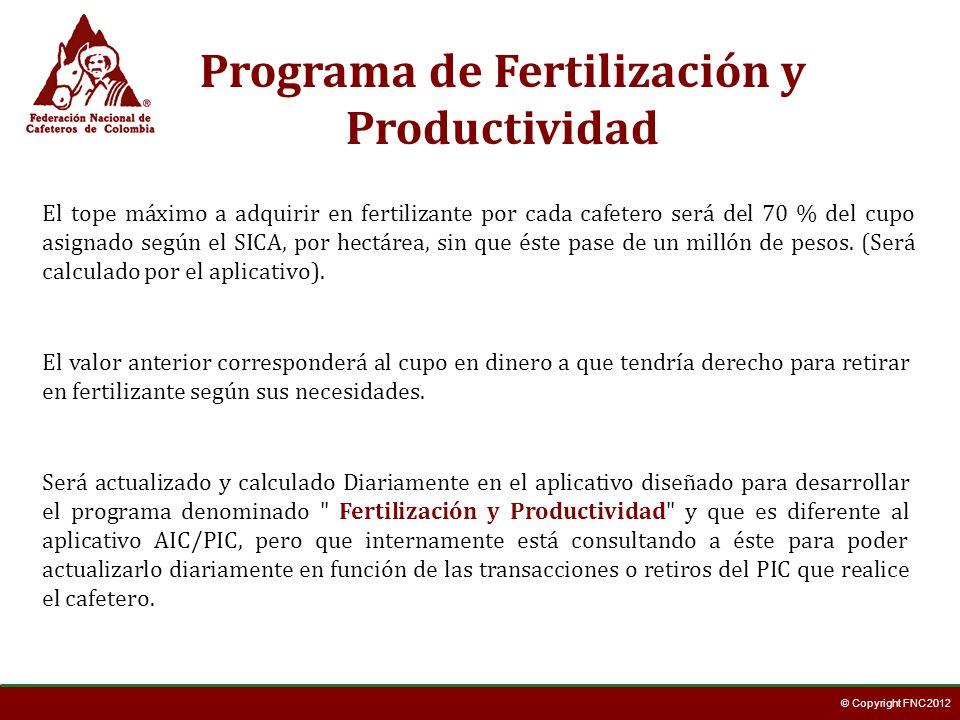© Copyright FNC 2012 Será actualizado y calculado Diariamente en el aplicativo diseñado para desarrollar el programa denominado
