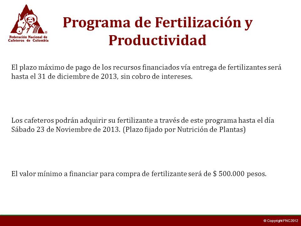 © Copyright FNC 2012 Los cafeteros podrán adquirir su fertilizante a través de este programa hasta el día Sábado 23 de Noviembre de 2013. (Plazo fijad