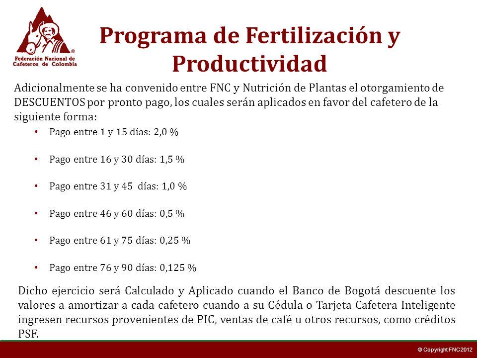 © Copyright FNC 2012 Pago entre 1 y 15 días: 2,0 % Pago entre 16 y 30 días: 1,5 % Pago entre 31 y 45 días: 1,0 % Pago entre 46 y 60 días: 0,5 % Pago e