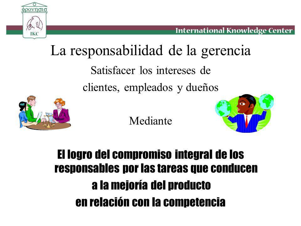 La responsabilidad de la gerencia Satisfacer los intereses de clientes, empleados y dueños Mediante El logro del compromiso integral de los responsabl