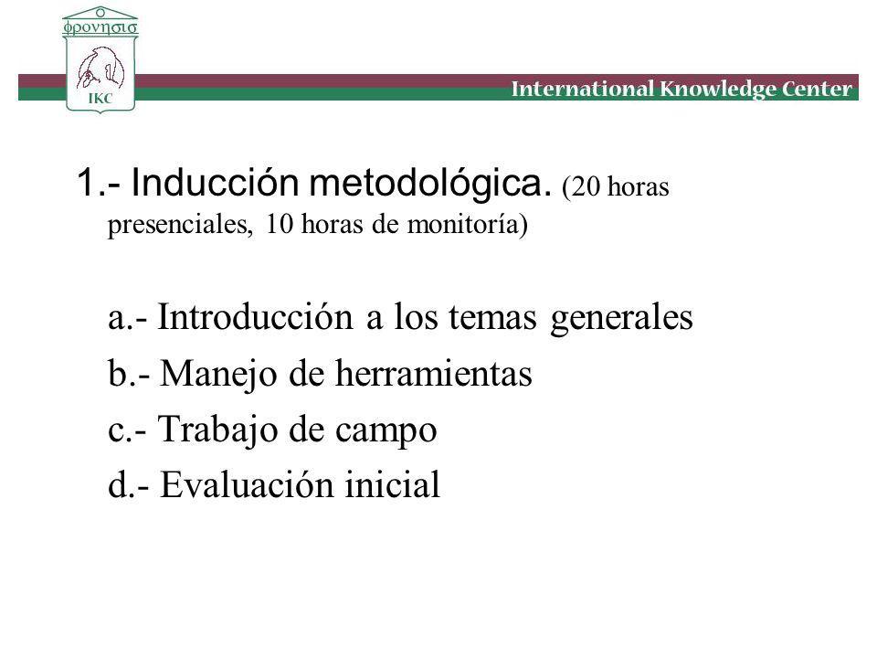 1.- Inducción metodológica. (20 horas presenciales, 10 horas de monitoría) a.- Introducción a los temas generales b.- Manejo de herramientas c.- Traba