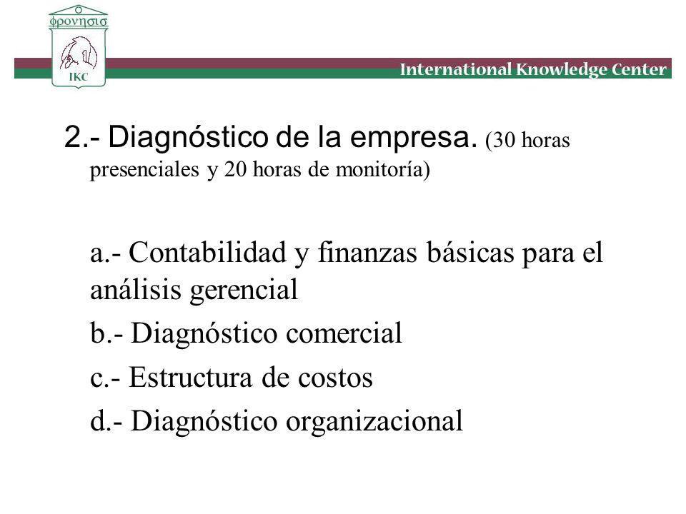 2.- Diagnóstico de la empresa. (30 horas presenciales y 20 horas de monitoría) a.- Contabilidad y finanzas básicas para el análisis gerencial b.- Diag