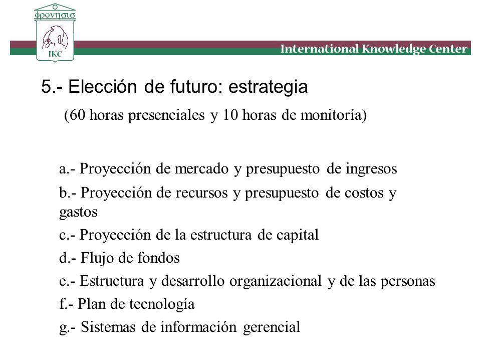 5.- Elección de futuro: estrategia (60 horas presenciales y 10 horas de monitoría) a.- Proyección de mercado y presupuesto de ingresos b.- Proyección