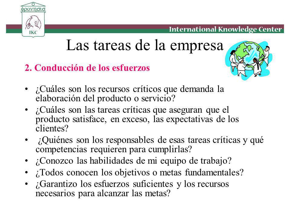 2. Conducción de los esfuerzos ¿Cuáles son los recursos críticos que demanda la elaboración del producto o servicio? ¿Cuáles son las tareas críticas q