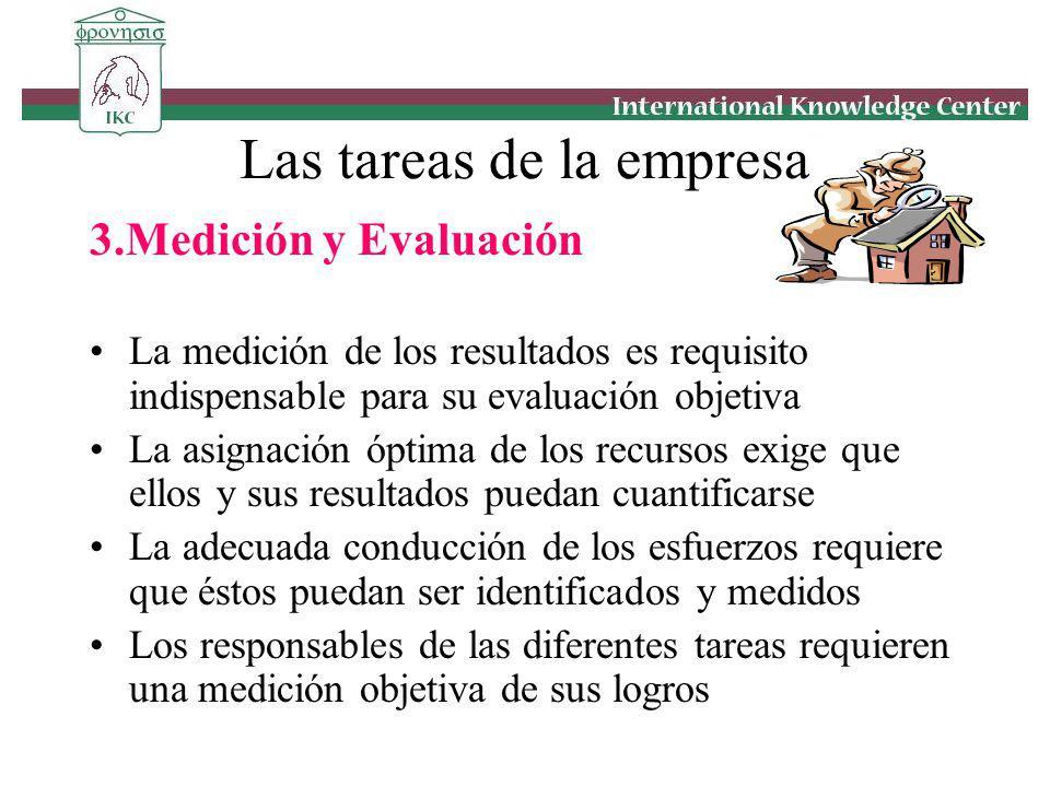 3.Medición y Evaluación La medición de los resultados es requisito indispensable para su evaluación objetiva La asignación óptima de los recursos exig