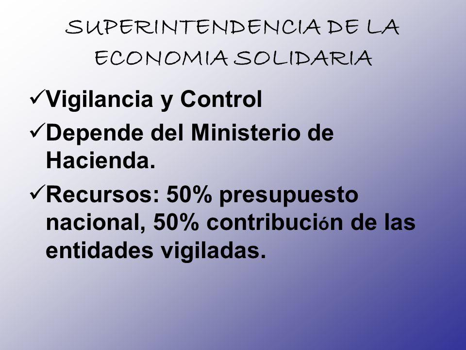 SUPERINTENDENCIA DE LA ECONOMIA SOLIDARIA Vigilancia y Control Depende del Ministerio de Hacienda. Recursos: 50% presupuesto nacional, 50% contribuci