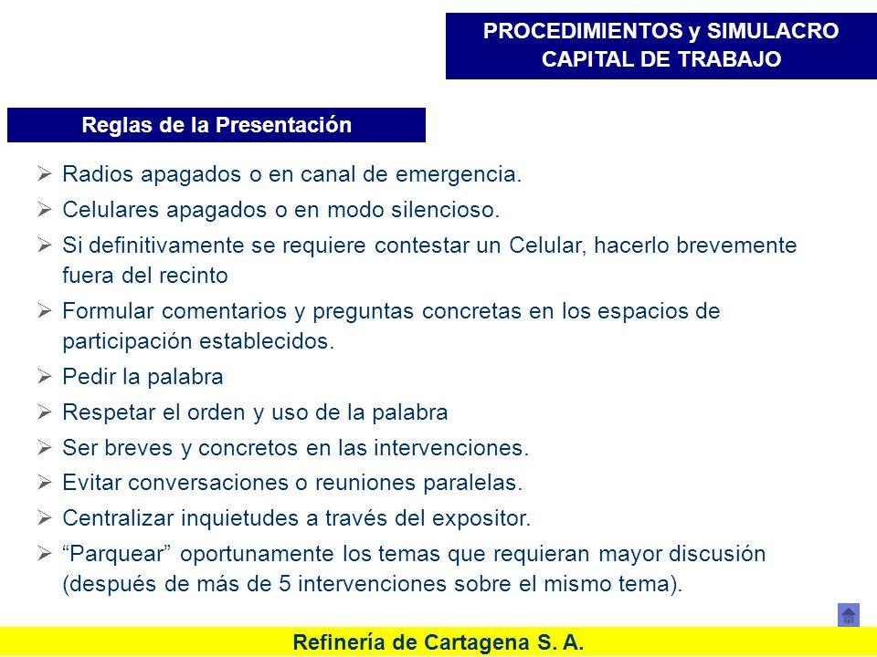 Refinería de Cartagena S. A. Reglas de la Presentación PROCEDIMIENTOS y SIMULACRO CAPITAL DE TRABAJO Radios apagados o en canal de emergencia. Celular