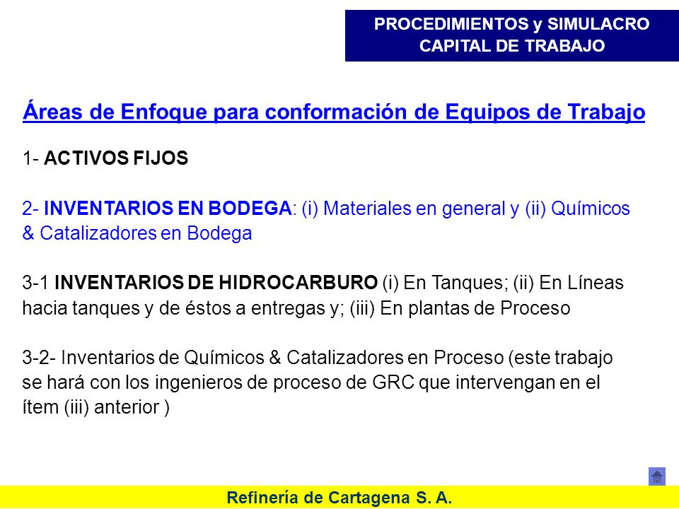 Refinería de Cartagena S. A. Áreas de Enfoque para conformación de Equipos de Trabajo 1- ACTIVOS FIJOS 2- INVENTARIOS EN BODEGA: (i) Materiales en gen