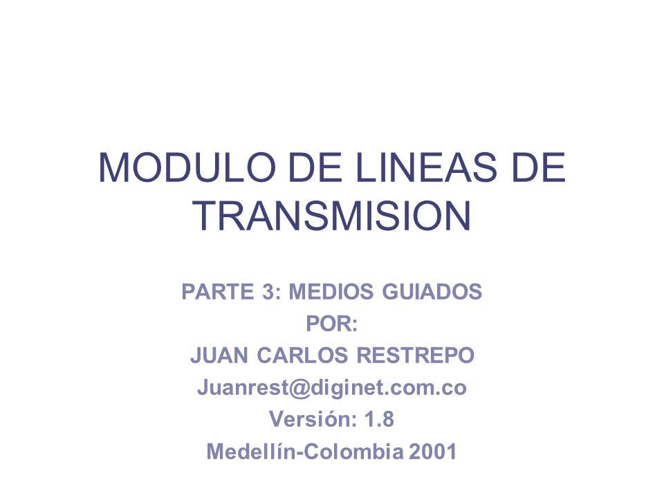 MODULO DE LINEAS DE TRANSMISION PARTE 3: MEDIOS GUIADOS POR: JUAN CARLOS RESTREPO Juanrest@diginet.com.co Versión: 1.8 Medellín-Colombia 2001