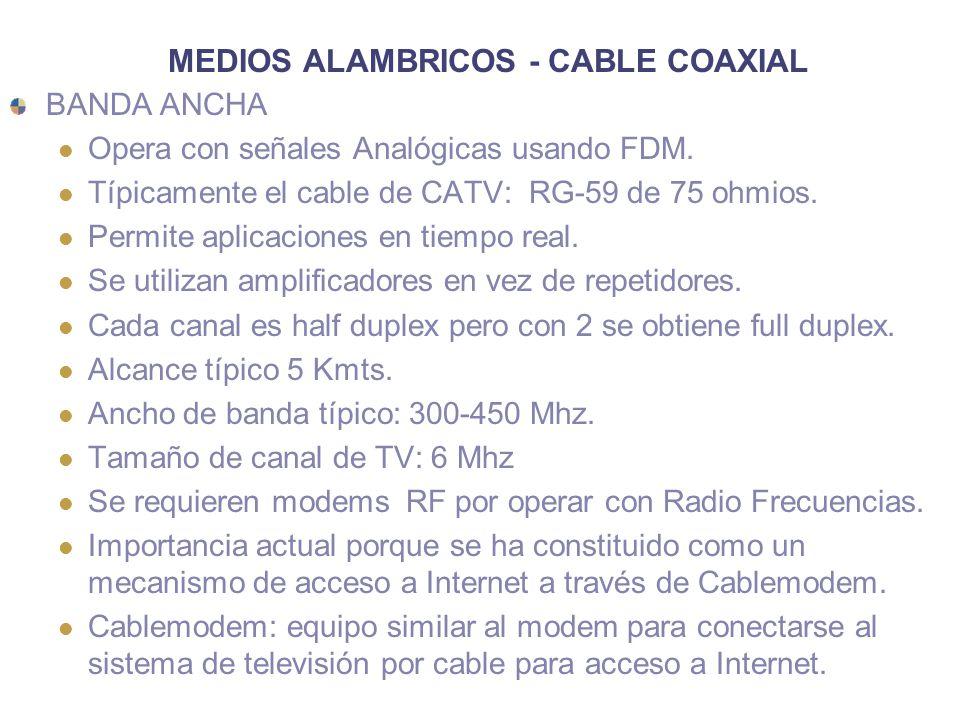 MEDIOS ALAMBRICOS - CABLE COAXIAL BANDA ANCHA Opera con señales Analógicas usando FDM. Típicamente el cable de CATV: RG-59 de 75 ohmios. Permite aplic