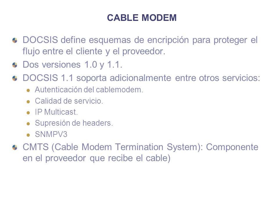 CABLE MODEM DOCSIS define esquemas de encripción para proteger el flujo entre el cliente y el proveedor. Dos versiones 1.0 y 1.1. DOCSIS 1.1 soporta a