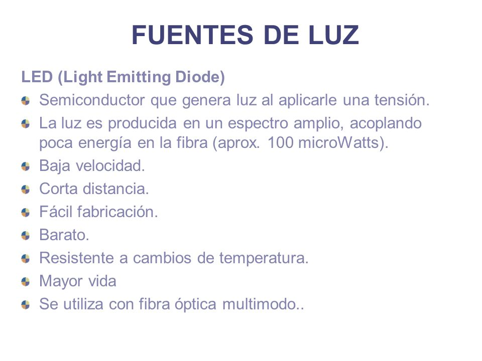 FUENTES DE LUZ LED (Light Emitting Diode) Semiconductor que genera luz al aplicarle una tensión. La luz es producida en un espectro amplio, acoplando