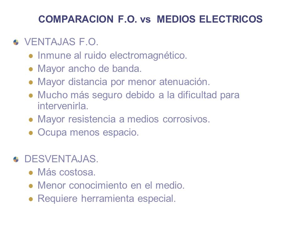 COMPARACION F.O.vs MEDIOS ELECTRICOS VENTAJAS F.O.