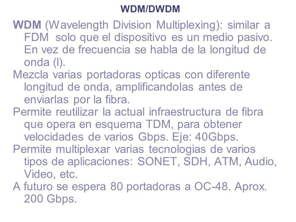 WDM/DWDM WDM (Wavelength Division Multiplexing): similar a FDM solo que el dispositivo es un medio pasivo. En vez de frecuencia se habla de la longitu
