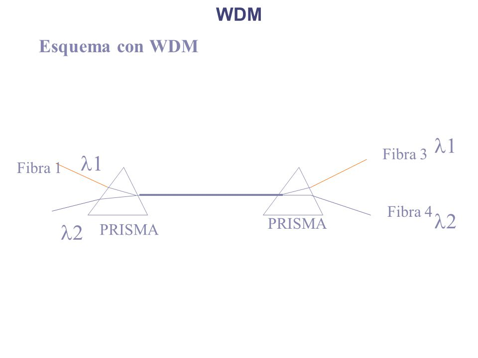 WDM Esquema con WDM PRISMA Fibra 3 Fibra 4 Fibra 1