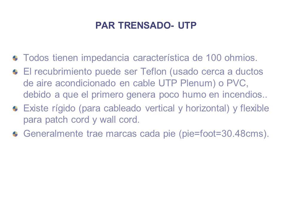 PAR TRENSADO- UTP Todos tienen impedancia característica de 100 ohmios. El recubrimiento puede ser Teflon (usado cerca a ductos de aire acondicionado