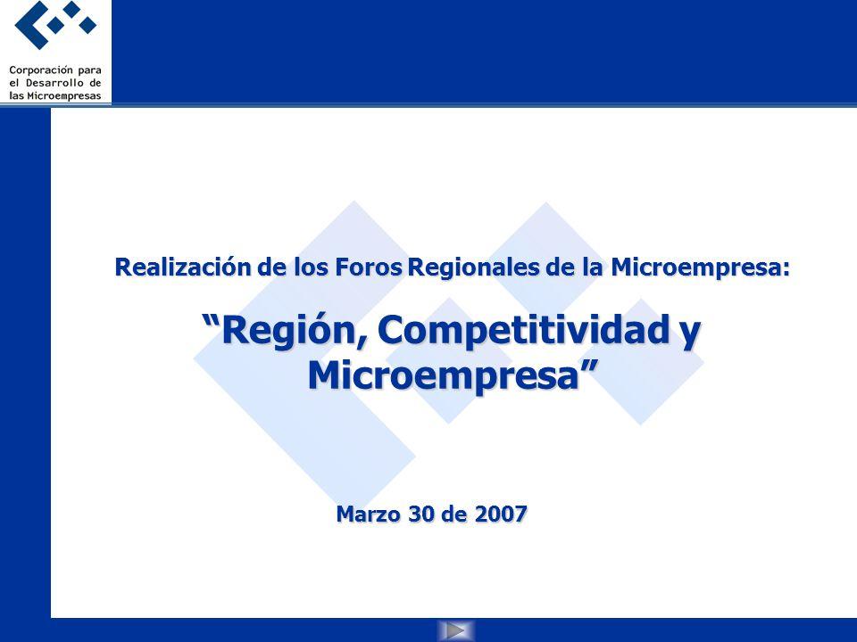 Realización de los Foros Regionales de la Microempresa: Región, Competitividad y Microempresa Marzo 30 de 2007