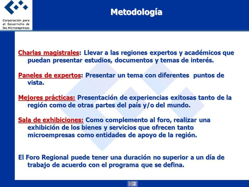 Charlas magistrales: Llevar a las regionesexpertos y académicos que puedan presentar estudios, documentos y temas de interés.