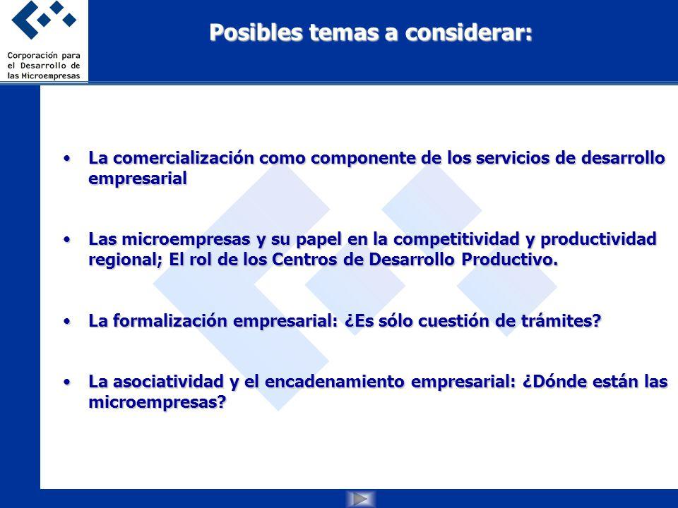 Posibles temas a considerar: La comercialización como componente de los servicios de desarrollo empresarialLa comercialización como componente de los servicios de desarrollo empresarial Las microempresas y su papel en la competitividad y productividad regional; El rol de los Centros de Desarrollo Productivo.Las microempresas y su papel en la competitividad y productividad regional; El rol de los Centros de Desarrollo Productivo.