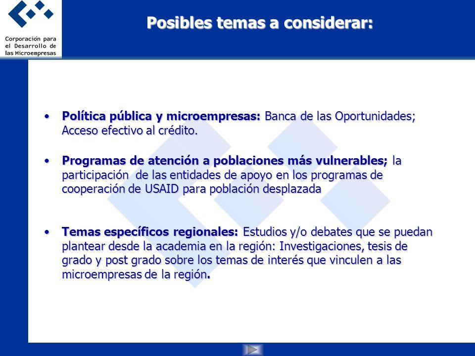 Posibles temas a considerar: Política pública y microempresas: Banca de las Oportunidades; Acceso efectivo al crédito.Política pública y microempresas: Banca de las Oportunidades; Acceso efectivo al crédito.