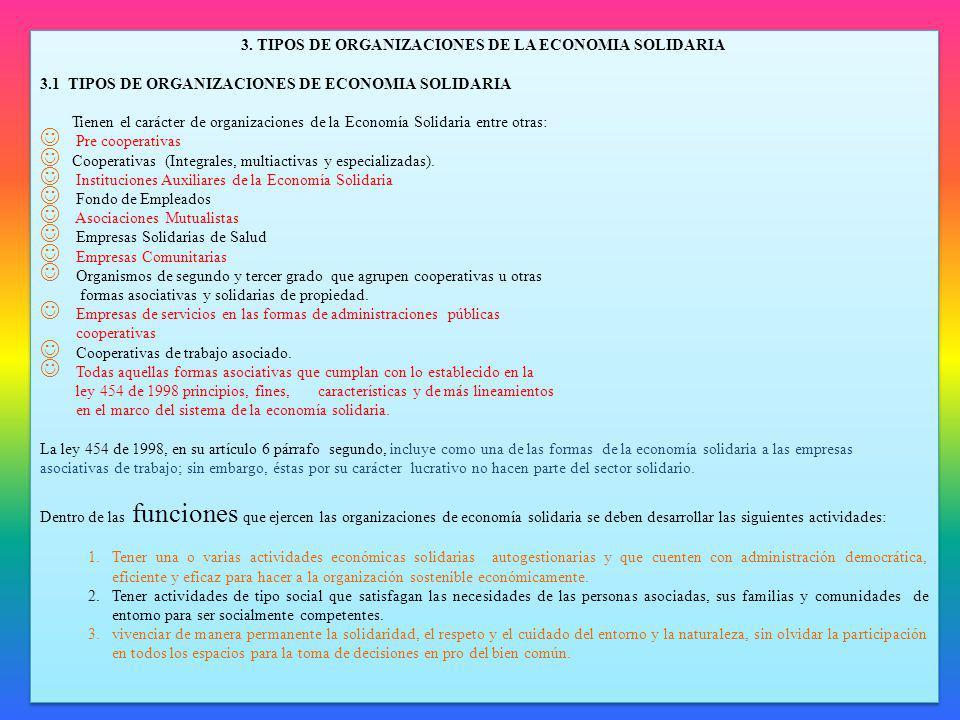 3. TIPOS DE ORGANIZACIONES DE LA ECONOMIA SOLIDARIA 3.1 TIPOS DE ORGANIZACIONES DE ECONOMIA SOLIDARIA Tienen el carácter de organizaciones de la Econo
