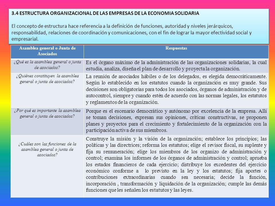 3.4 ESTRUCTURA ORGANIZACIONAL DE LAS EMPRESAS DE LA ECONOMIA SOLIDARIA El concepto de estructura hace referencia a la definición de funciones, autorid