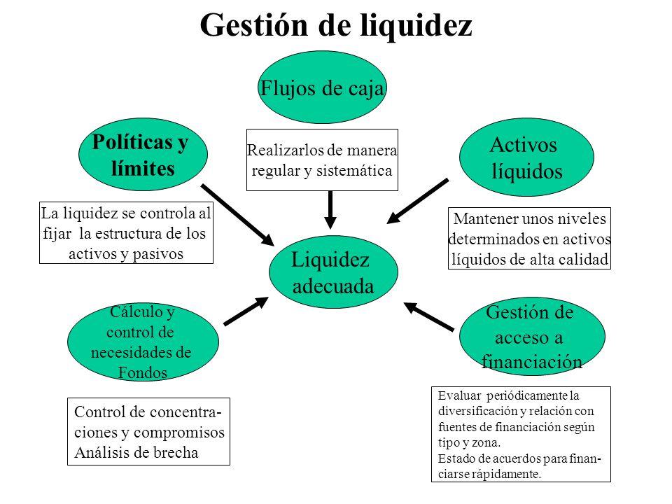 Gestión de liquidez Liquidez adecuada Flujos de caja Cálculo y control de necesidades de Fondos Activos líquidos Gestión de acceso a financiación Real